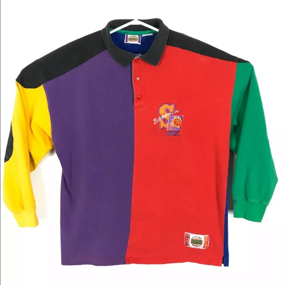 vintage NBA Phoenix Suns 90 Color block Polo Shirt